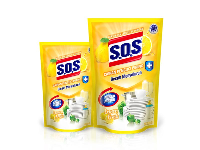 SOS Cairan Pencuci Piring Anti Bacterial – Lemon Fresh
