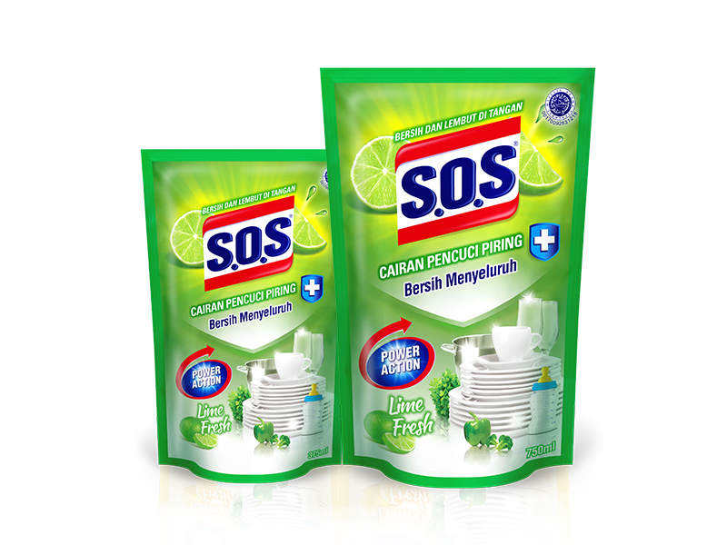 SOS Cairan Pencuci Piring Anti Bacterial – Lime Fresh